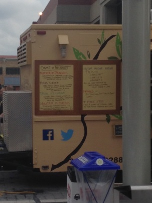 Game of Thrones themed menu on one of the food trucks. Yup, everything is nerd themed here :-)