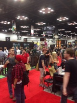 A shot of the line at the line to check out at the Wyrd booth (taken from the line to get into that line)