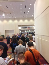 Waiting in line to get our badges.