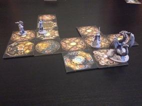 The adventurers braving Drakon's lair.