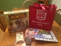 The epic AEG Big Game Night swag bag