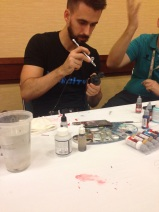 Angel Giraldez showing us some airbrush technique