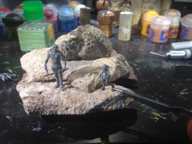 Preliminary mockups of the layout for the diorama.
