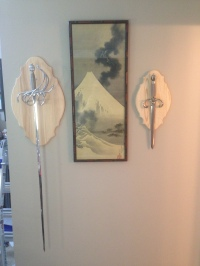 Test mounting the rapier and dagger on the wall.