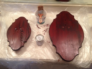 First coat of stain.