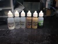 Some of my GW paints I transfered to dropper bottles. Much easier to load an airbrush this way. I will definitely be transferring most of my paints to dropper bottles.
