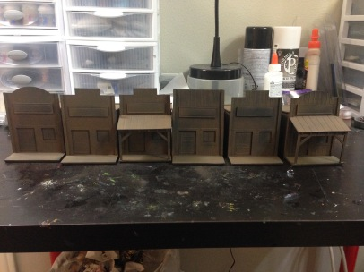 My old west town with airbrushed basecoats.