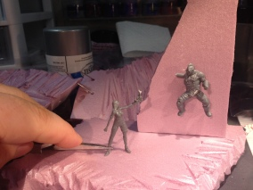 A rough mock-up of how the scene will be posed.