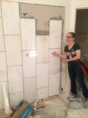 My lovely wife presenting our lovely WiP shower. I'm planning on doing some marble-effect basing soon, so now I'll have a great example!