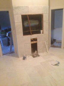 More fancy marble tile in the master bath!